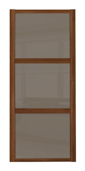 Shaker Sliding Wardrobe Door- WALNUT FRAME - 3  CAPPUCCINO GLASS PANELS